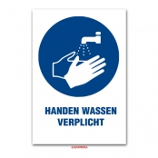 Handen wassen verplicht Dibond Bord